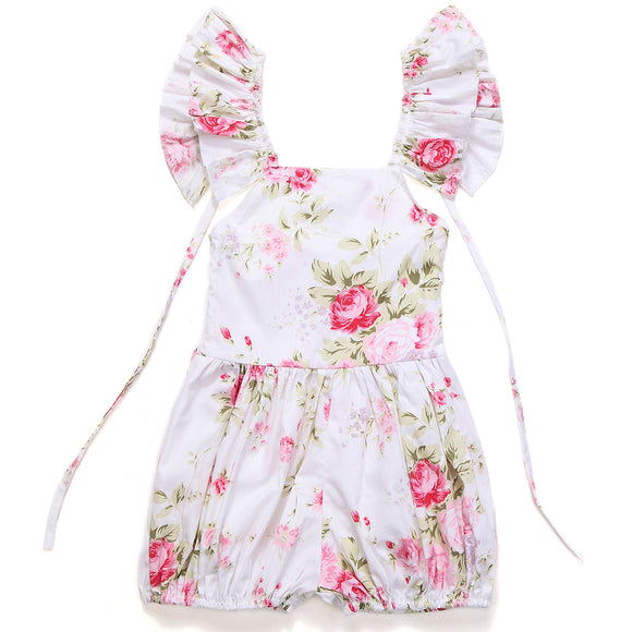 Cute Floral Little Girls Jumpsuit Baby Overalls
