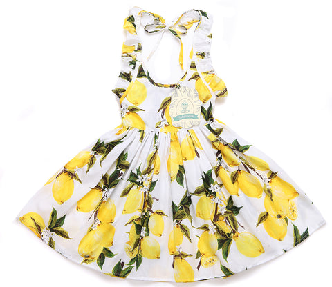 Summer ruffle yellow little girls lemon dress for 1- 8 years old