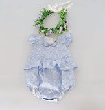Flofallzique blue floral baby girls romper toddler overalls infant onesie newborn bodysuit