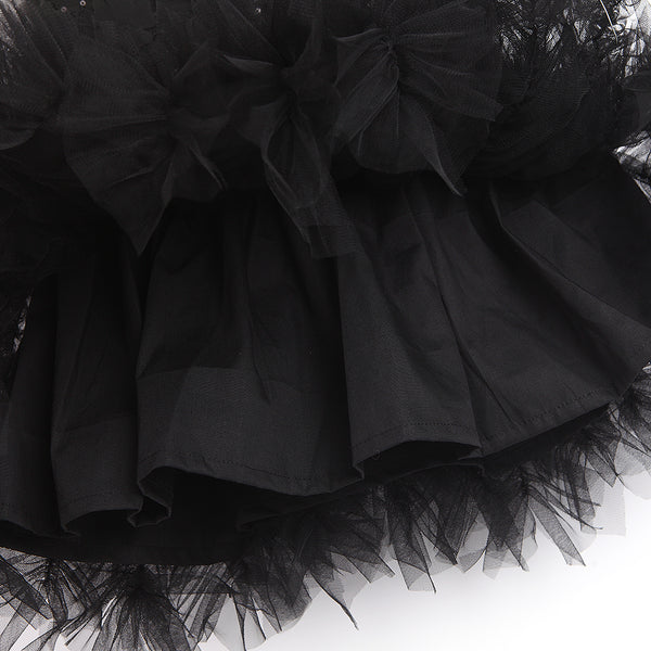 Flower Sequined Black Tutu Girls Dress