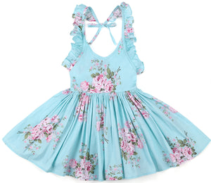 Blue vintage floral girls party dress for 1-12 years old