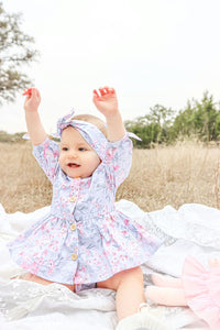 Floral blue baby romper Autumn vintage toddler girls clothes with headband Easter dress up