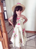 Girls Vintage Sundress Floral Cream Kids Party Dress