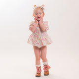 Cream floral baby romper Autumn vintage toddler girls clothes with headband Easter dress up