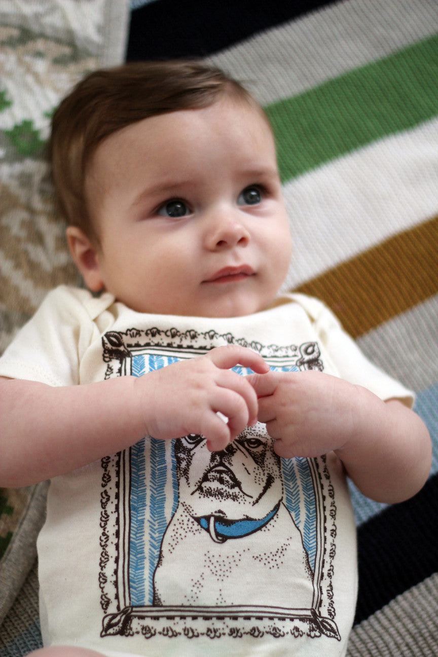 """french bulldog"" organic cotton baby bodysuit in cyan"