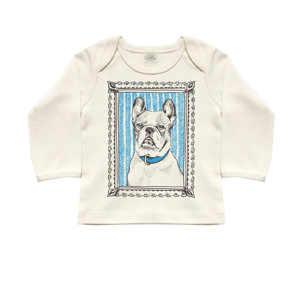 frenchie french bulldog dog blue baby boy girl infant shower gift organic cotton eco sustainable made in USA tee shirt lap tee long sleeve unisex gender neutral hand drawn illustration