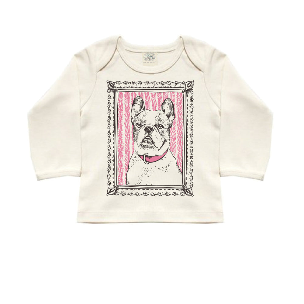"""french bulldog"" organic cotton baby long sleeved tee in rose"