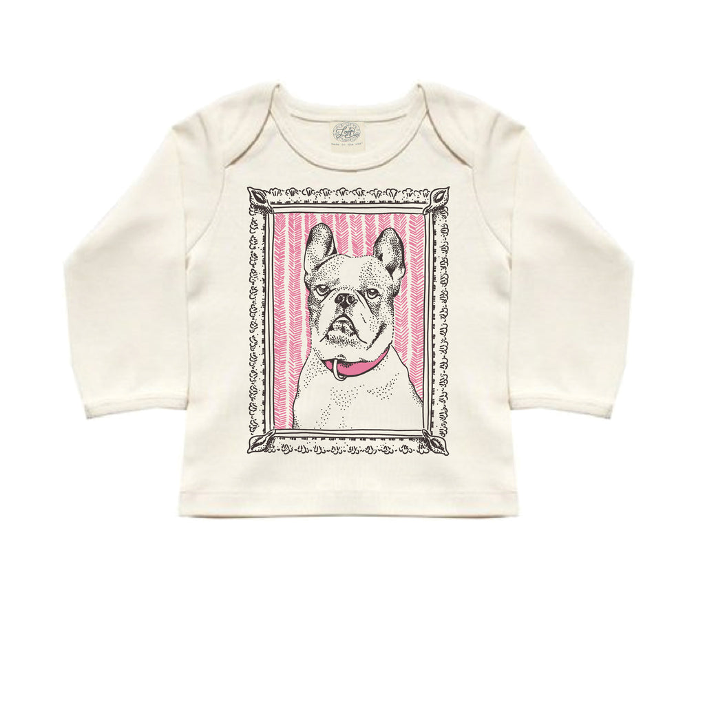 frenchie french bulldog dog pink baby boy girl infant shower gift organic cotton eco sustainable made in USA long sleeve tee lap tee shirt unisex gender neutral hand drawn illustration