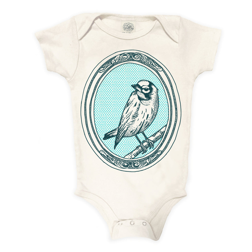 onesie bird canary nature spring zoo baby boy girl infant shower gift organic cotton eco sustainable made in USA bodysuit unisex gender neutral hand drawn illustration