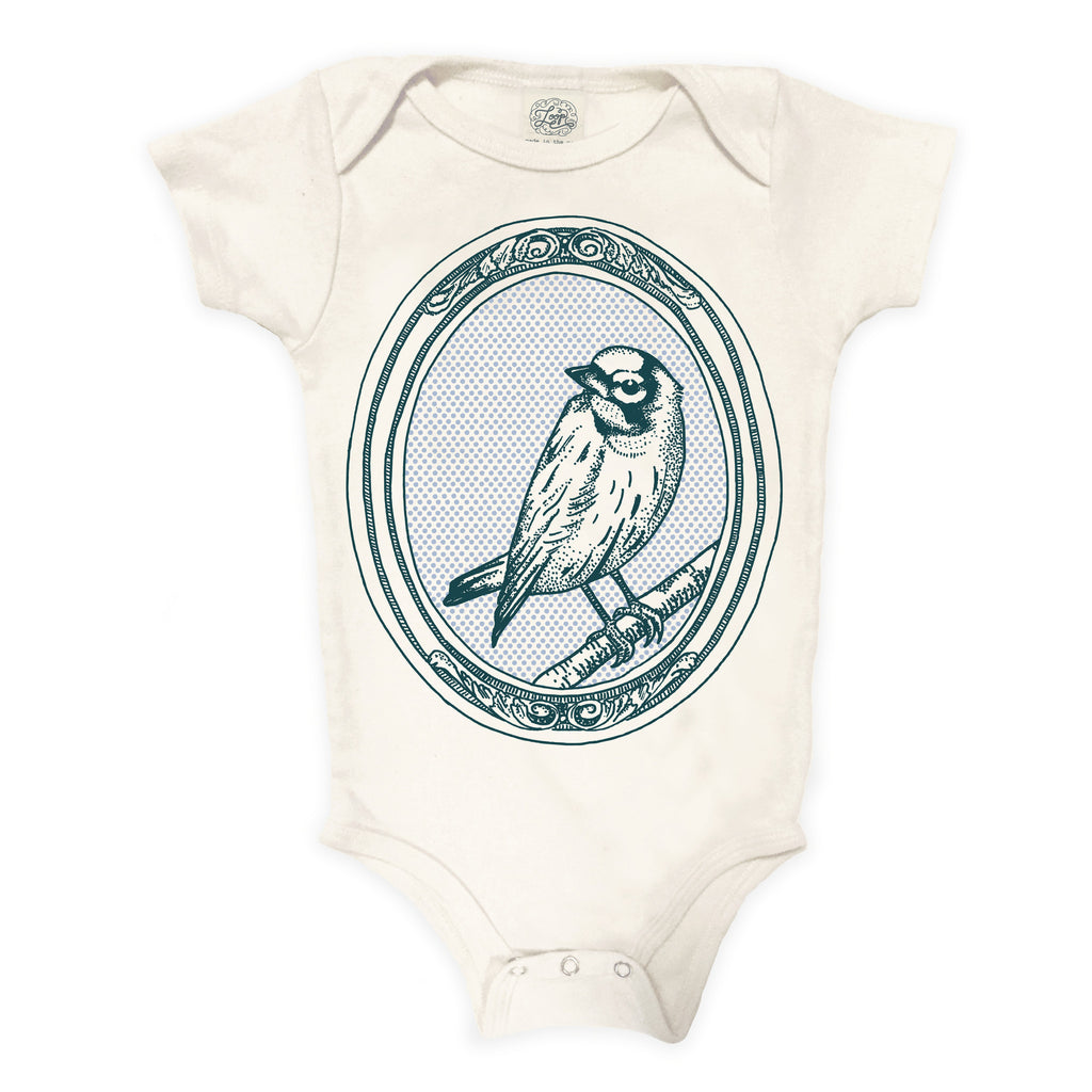 bird canary nature spring zoo baby boy girl infant shower gift organic cotton eco sustainable made in USA onesie bodysuit unisex gender neutral hand drawn illustration blue