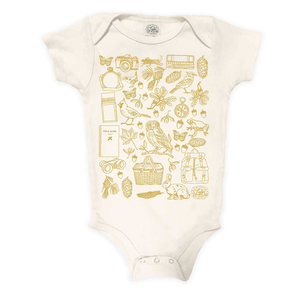 """birdwatcher"" organic cotton baby bodysuit in mustard"