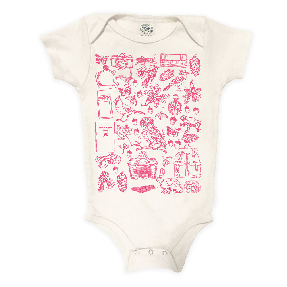 """birdwatcher"" organic cotton baby bodysuit in rose"