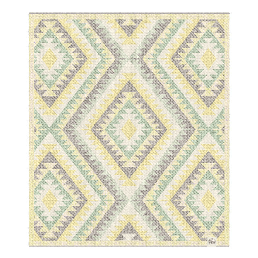 navaho aztec diamond geometric yellow mint green southwest desert arizona texas baby boy girl infant shower gift recycled cotton eco sustainable made in USA layette blanket crib stroller carriage nursery decor unisex gender neutral hand knit cozy soft