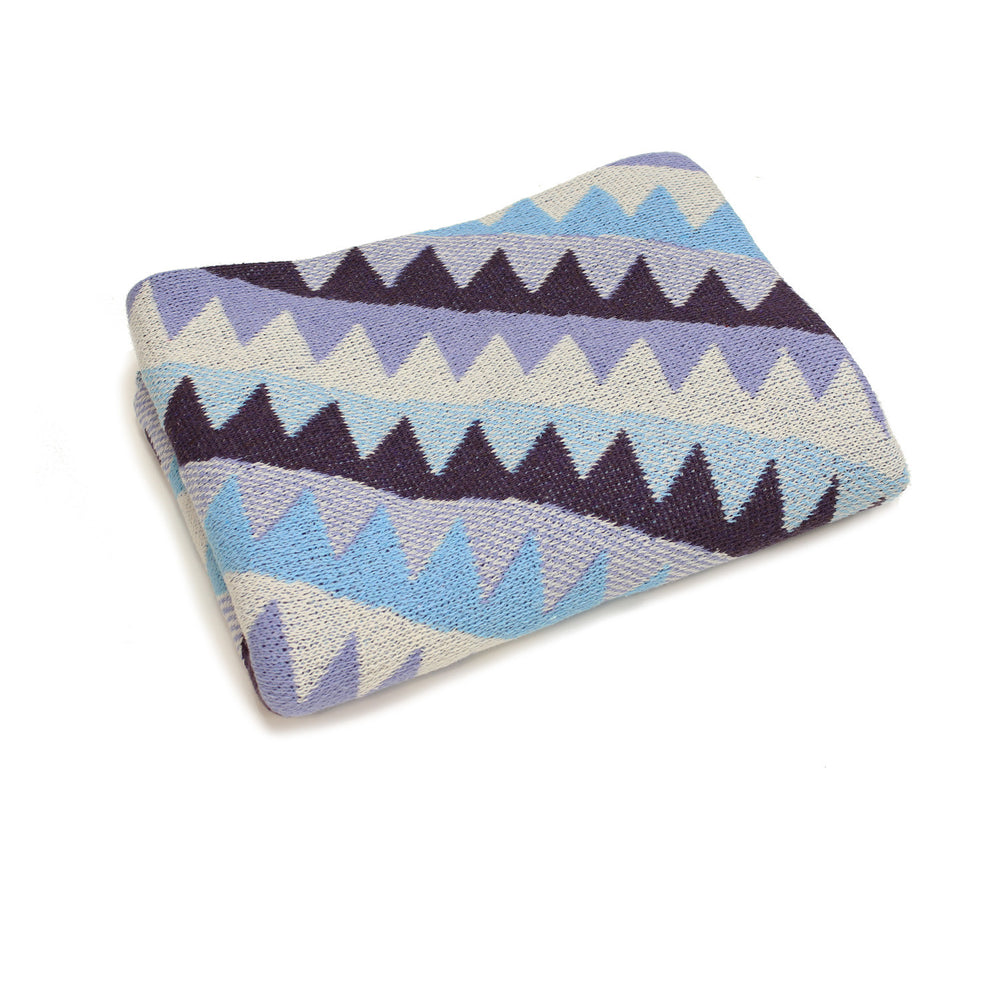 navaho aztec diamond geometric lavender purple blue southwest desert arizona texas baby boy girl infant shower gift recycled cotton eco sustainable made in USA layette blanket crib stroller carriage nursery decor unisex gender neutral hand knit cozy soft