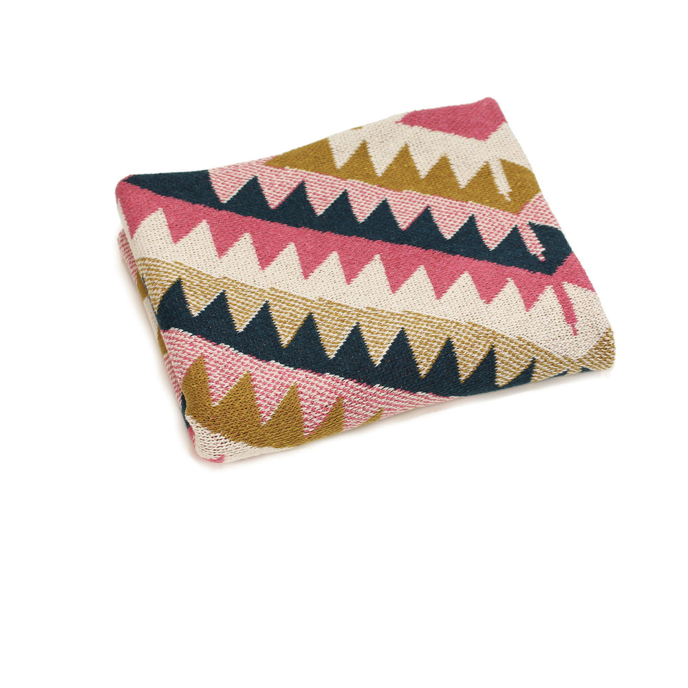 navaho aztec diamond geometric pink navy mustard yellow southwest desert arizona texas baby boy girl infant shower gift recycled cotton eco sustainable made in USA layette blanket crib stroller carriage nursery decor unisex gender neutral hand knit cozy soft
