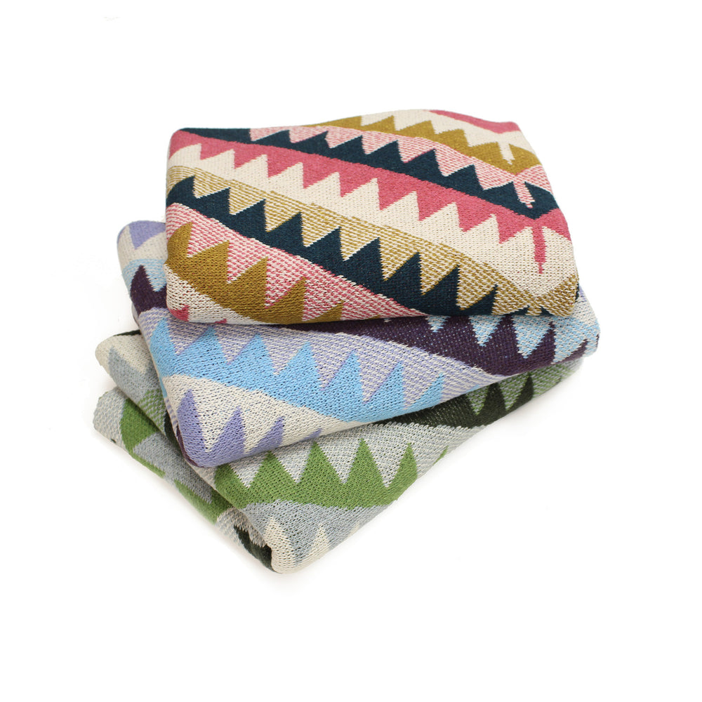 navaho aztec diamond geometric green blue southwest desert arizona texas baby boy girl infant shower gift recycled cotton eco sustainable made in USA layette blanket crib stroller carriage nursery decor unisex gender neutral hand knit cozy soft