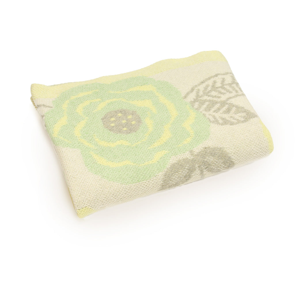 floral flowers mint green yellow baby girl infant shower gift recycled cotton eco sustainable made in USA layette blanket crib stroller carriage nursery decor unisex gender neutral hand knit cozy soft