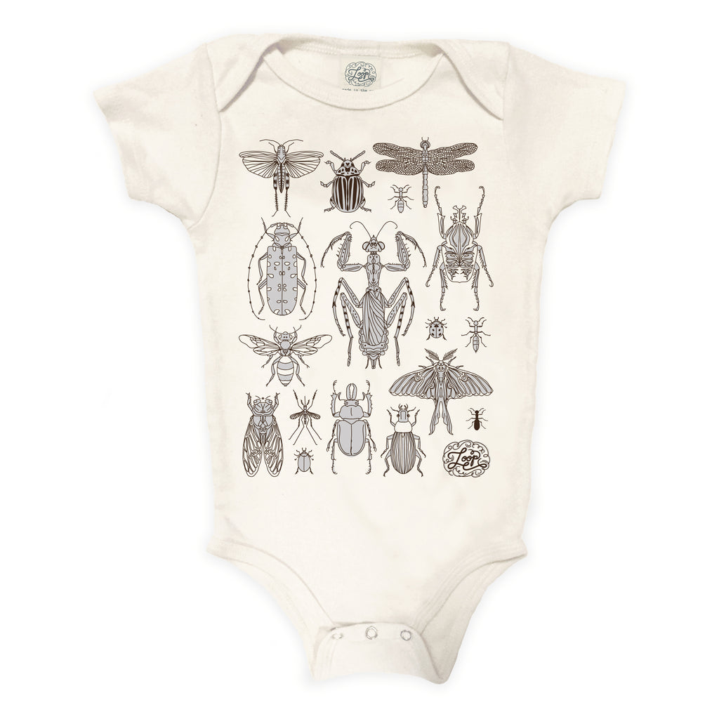 """insects"" organic cotton body bodysuit in bark"
