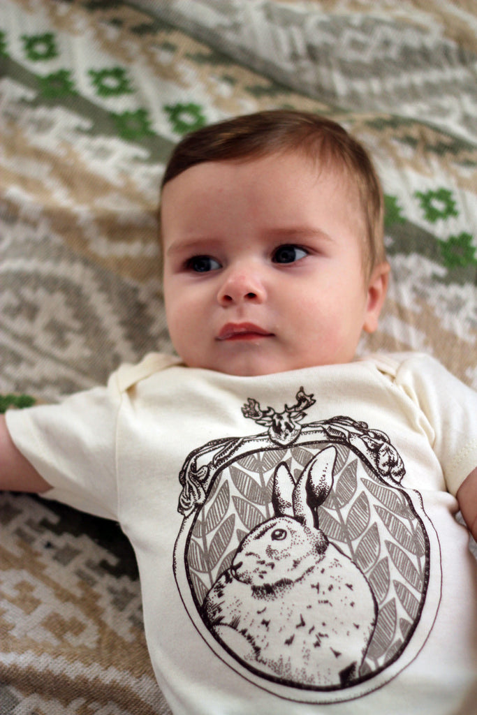 """rabbit"" organic cotton baby bodysuit in stone"