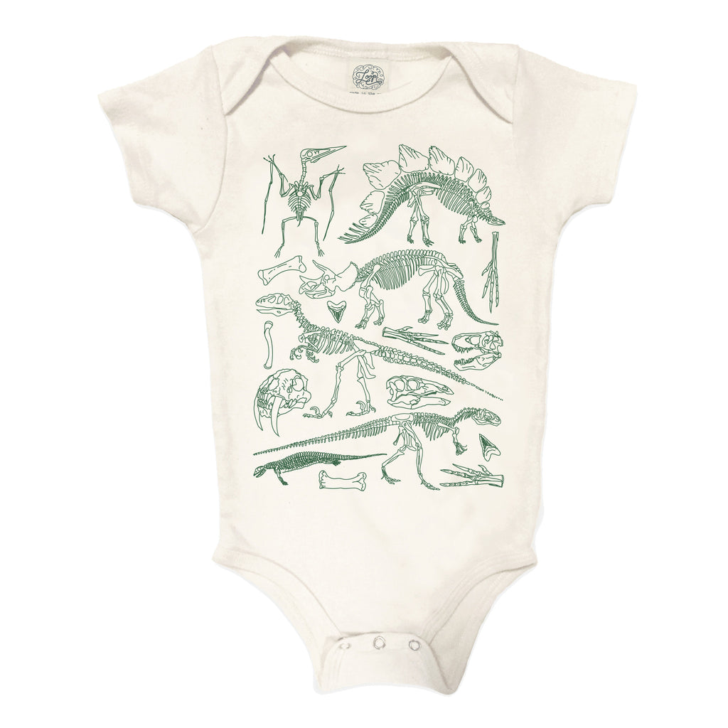 fossils dinosaur t-rex stegosaurus raptor museum natural history NYC baby boy girl infant shower gift organic cotton eco sustainable made in USA onesie bodysuit unisex gender neutral hand drawn illustration