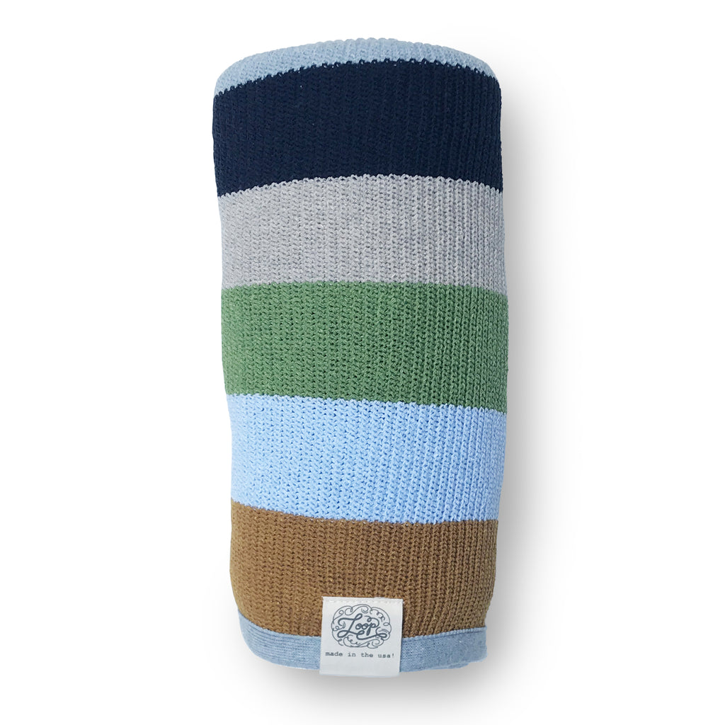 stripe navy blue green gray mustard baby boy girl infant shower gift recycled cotton eco sustainable made in USA layette blanket crib stroller carriage nursery decor unisex gender neutral hand knit cozy soft