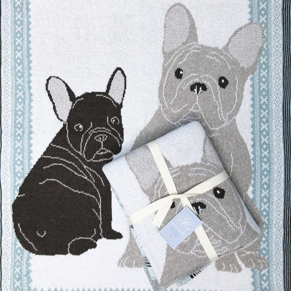 frenchies french bulldog dog fawn brindle puppy blue baby boy girl infant shower gift recycled cotton eco sustainable made in USA layette blanket crib stroller carriage nursery decor unisex gender neutral hand knit cozy soft
