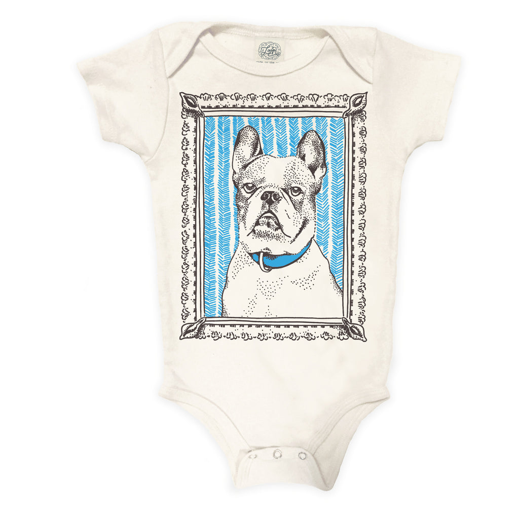frenchie french bulldog dog blue baby boy girl infant shower gift organic cotton eco sustainable made in USA onesie bodysuit unisex gender neutral hand drawn illustration