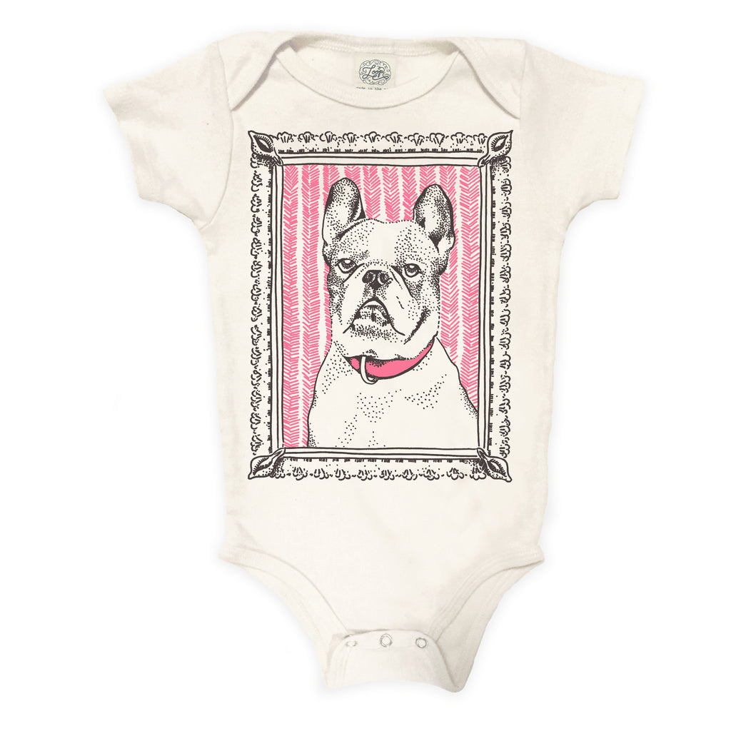 """french bulldog"" organic cotton baby bodysuit in rose"