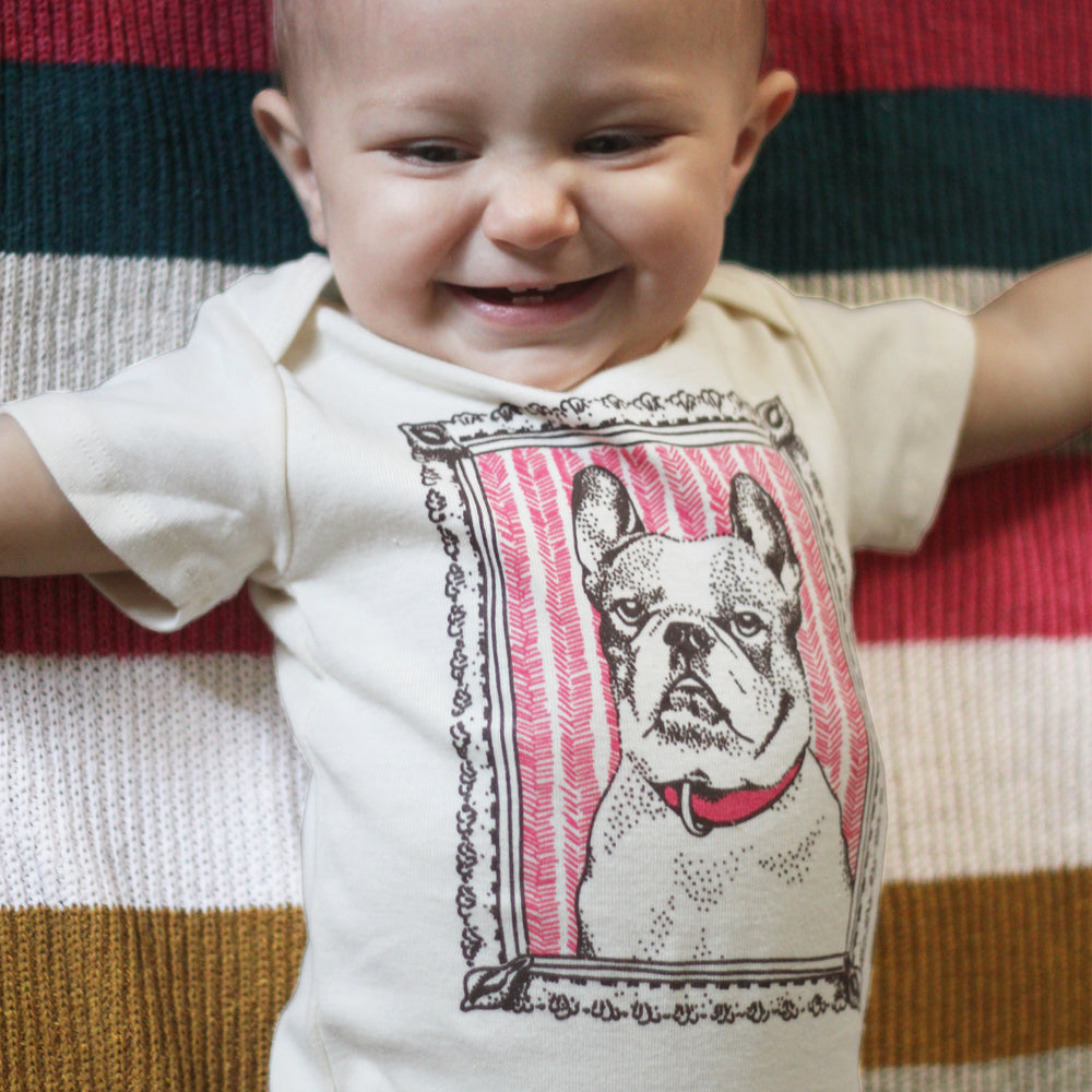 frenchie french bulldog dog pink baby boy girl infant shower gift organic cotton eco sustainable made in USA onesie bodysuit unisex gender neutral hand drawn illustration