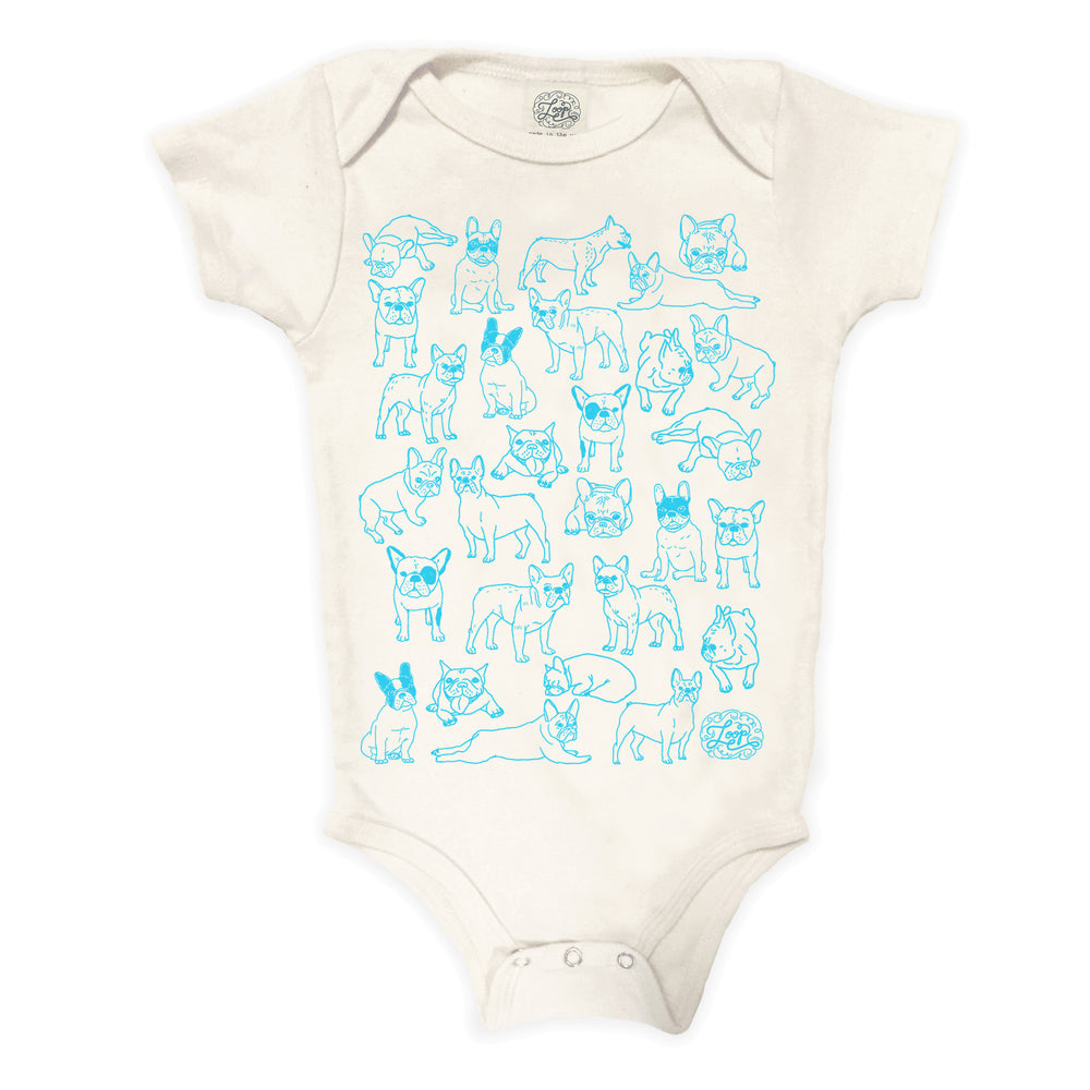 frenchie french bulldog boston terrier dog blue baby boy girl infant shower gift organic cotton eco sustainable made in USA onesie bodysuit unisex gender neutral hand drawn illustration