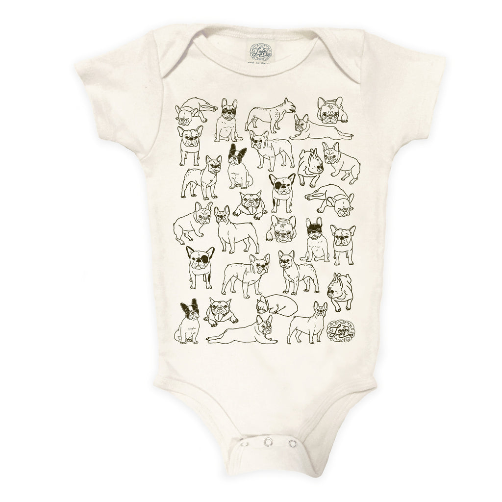 frenchie french bulldog boston terrier dog brown baby boy girl infant shower gift organic cotton eco sustainable made in USA onesie bodysuit unisex gender neutral hand drawn illustration
