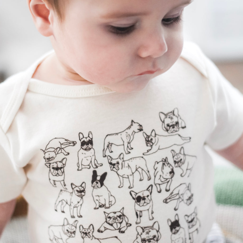 onesie frenchie french bulldog boston terrier dog brown new baby boy girl infant shower gift organic cotton eco sustainable made in USA bodysuit unisex gender neutral hand drawn illustration