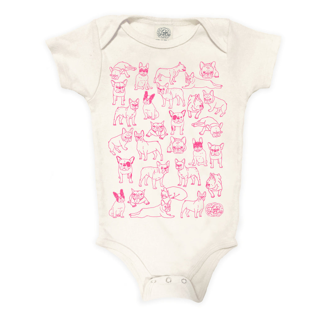 frenchie french bulldog boston terrier dog pink baby boy girl infant shower gift organic cotton eco sustainable made in USA onesie bodysuit unisex gender neutral hand drawn illustration