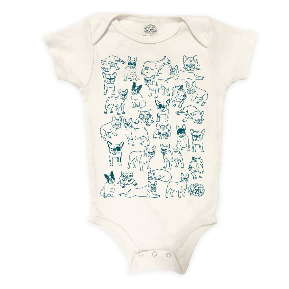 """frenchies"" organic cotton baby bodysuit in teal"