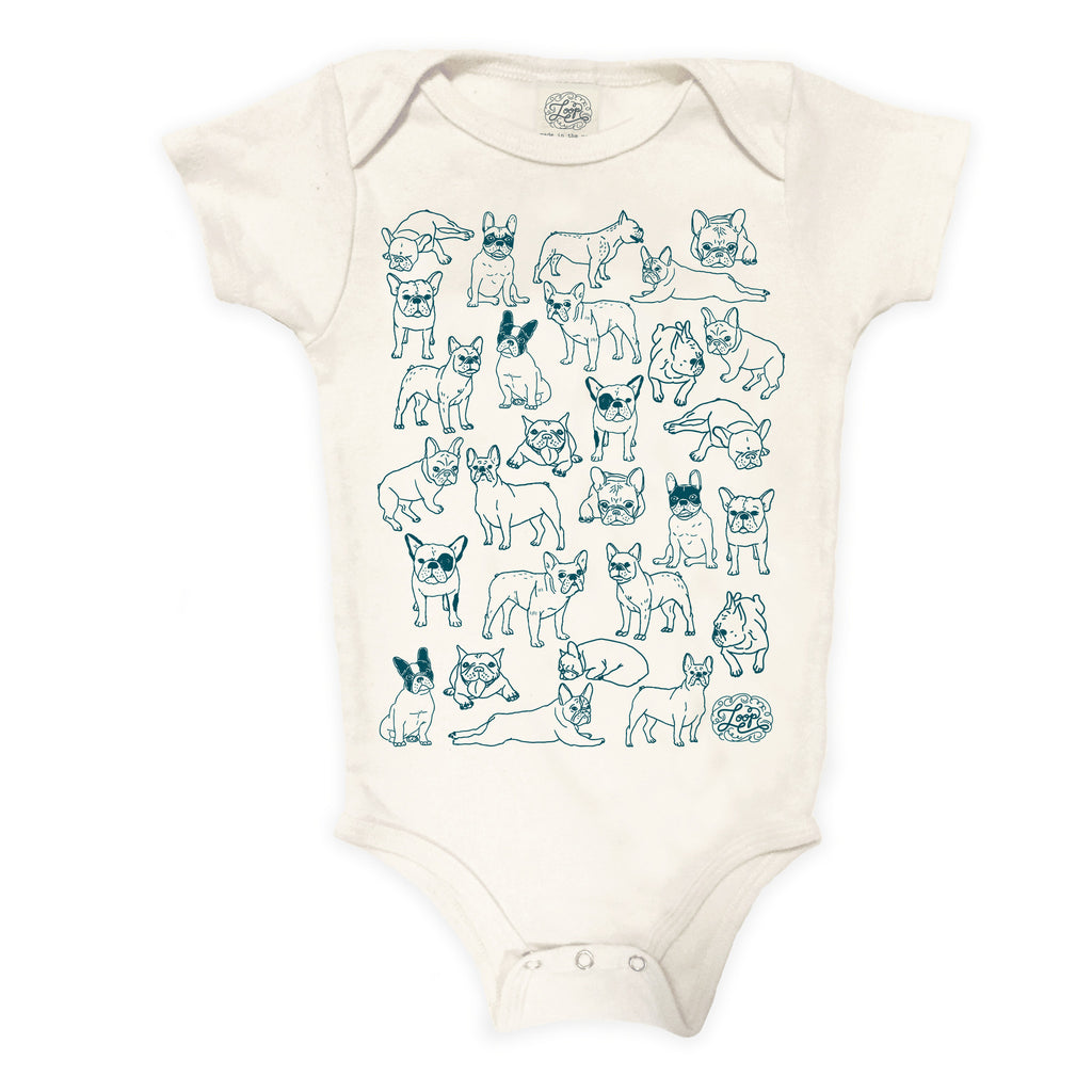 frenchie french bulldog boston terrier dog navy blue teal baby boy girl infant shower gift organic cotton eco sustainable made in USA onesie bodysuit unisex gender neutral hand drawn illustration