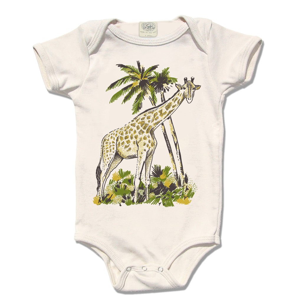 giraffe zoo jungle africa baby boy girl infant shower gift organic cotton eco sustainable made in USA onesie bodysuit unisex gender neutral hand drawn illustration