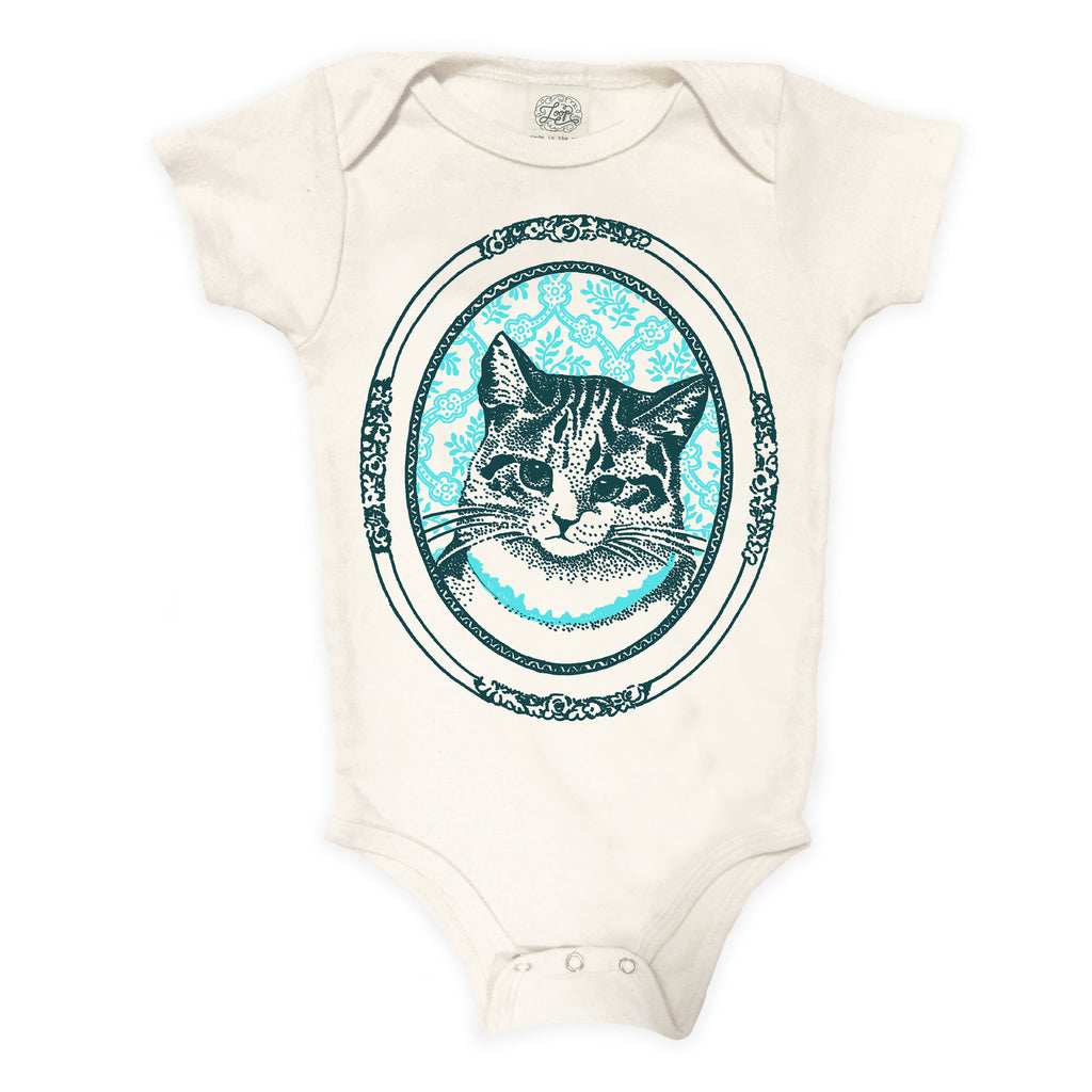 kitty cat kitten aqua blue baby boy girl infant shower gift organic cotton eco sustainable made in USA onesie bodysuit unisex gender neutral hand drawn illustration
