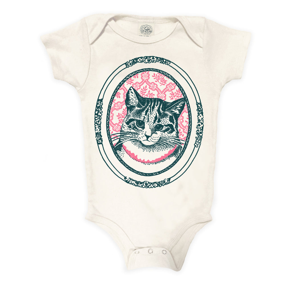 kitty cat kitten rose pink baby boy girl infant shower gift organic cotton eco sustainable made in USA onesie bodysuit unisex gender neutral hand drawn illustration