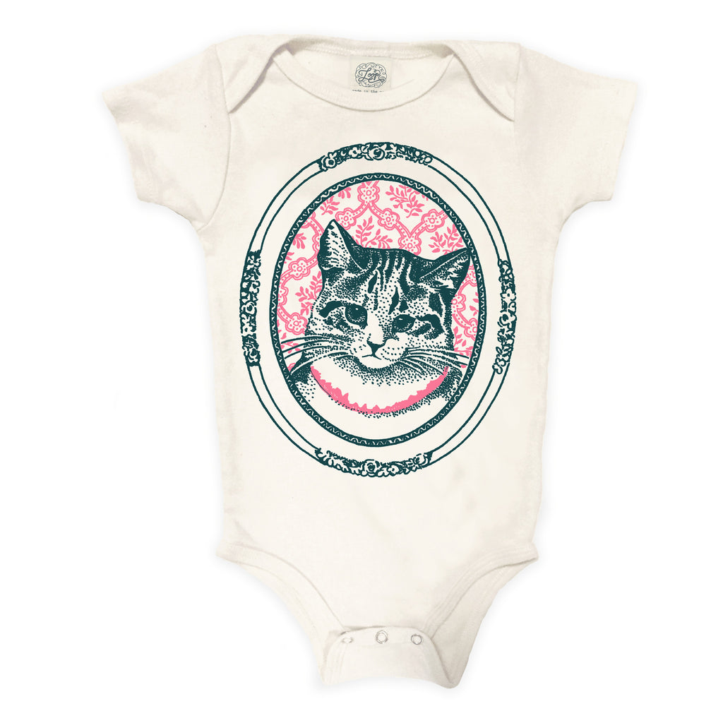 """kitty"" organic cotton baby bodysuit in rose"