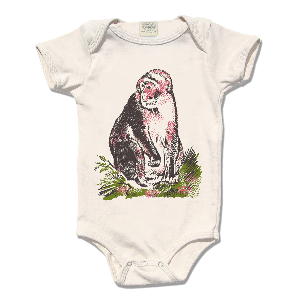monkey ape zoo baby infant shower gift organic cotton eco sustainable made in USA onesie bodysuit unisex gender neutral hand drawn illustration