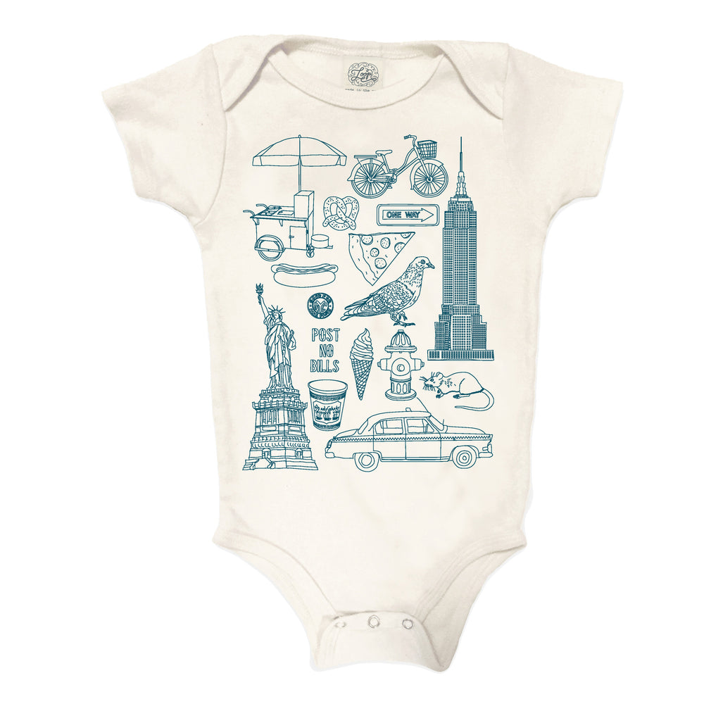 NYC New York City Statue of Liberty Pigeon Taxi Ice Cream Hot Dog  pizza navy blue baby boy girl infant shower gift organic cotton eco sustainable made in USA onesie bodysuit unisex gender neutral hand drawn illustration