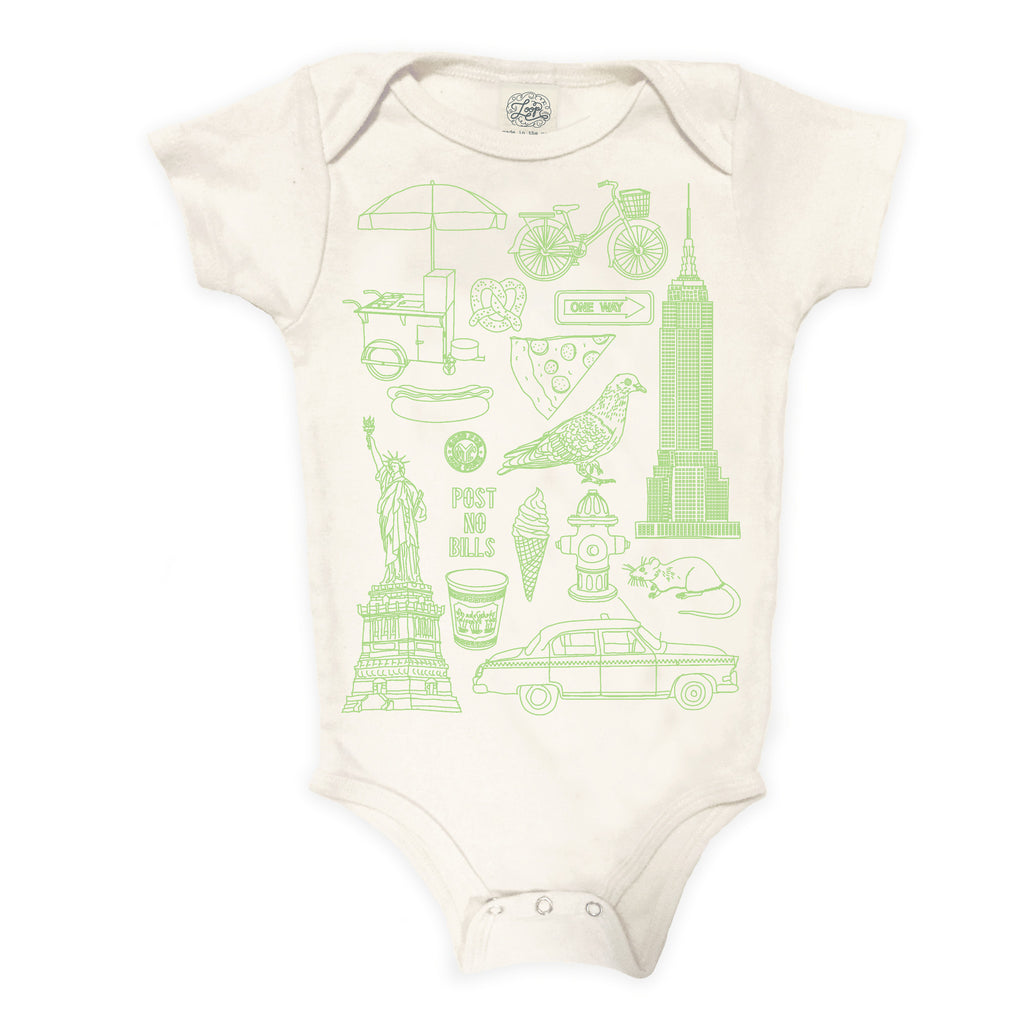NYC New York City Statue of Liberty Pigeon Taxi Ice Cream Hot Dog  pizza mint green baby boy girl infant shower gift organic cotton eco sustainable made in USA onesie bodysuit unisex gender neutral hand drawn illustration