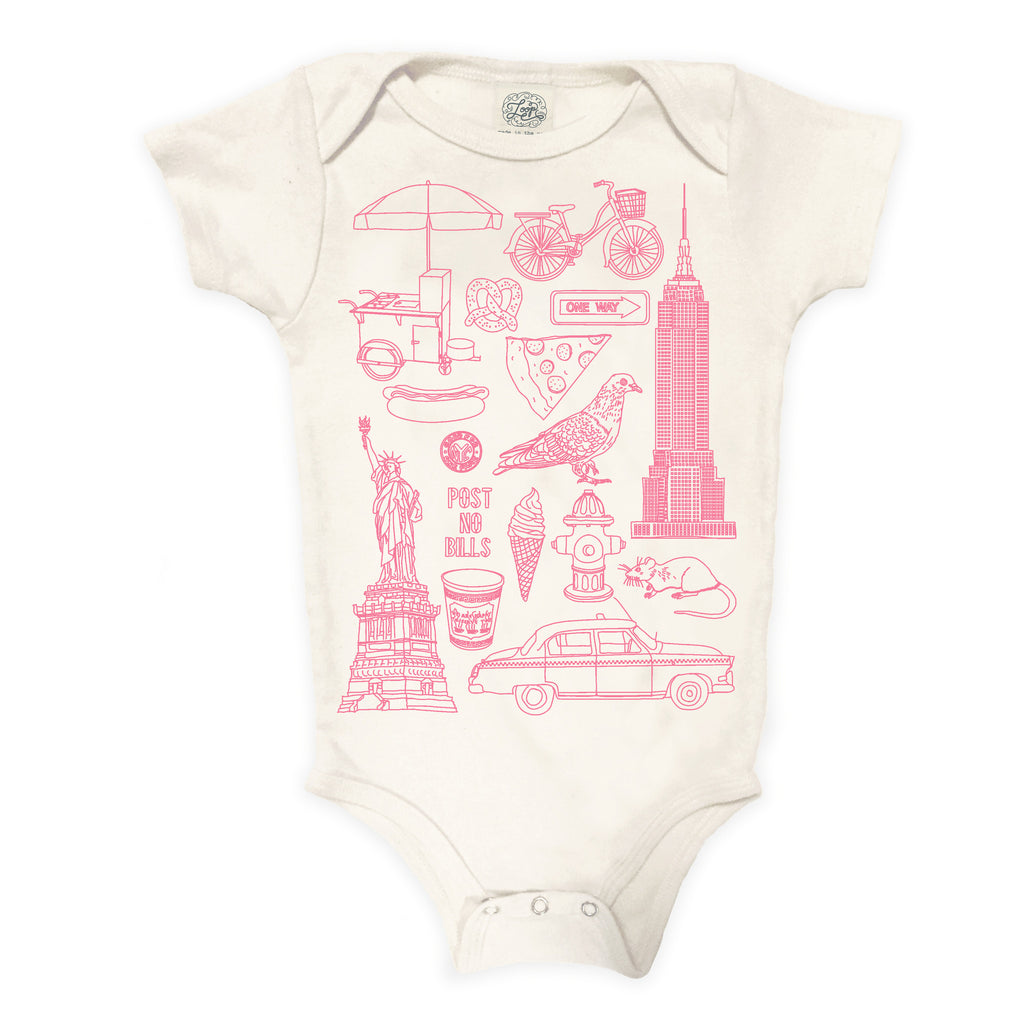 NYC New York City Statue of Liberty Pigeon Taxi Ice Cream Hot Dog pizza pink baby boy girl infant shower gift organic cotton eco sustainable made in USA onesie bodysuit unisex gender neutral hand drawn illustration
