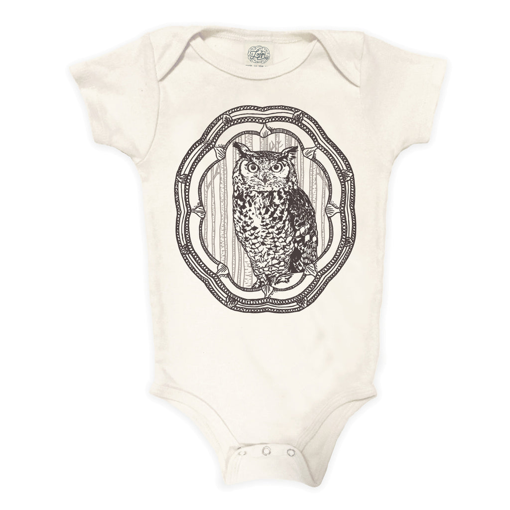 owl hoot nature spring forest woodland hiking camping gray brown baby boy girl infant shower gift organic cotton eco sustainable made in USA onesie bodysuit unisex gender neutral hand drawn illustration