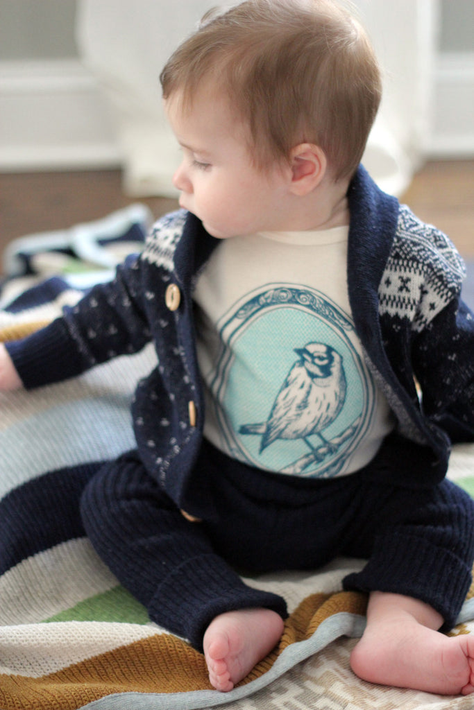 bird canary nature spring zoo baby boy girl infant shower gift organic cotton eco sustainable made in USA onesie bodysuit unisex gender neutral hand drawn illustration