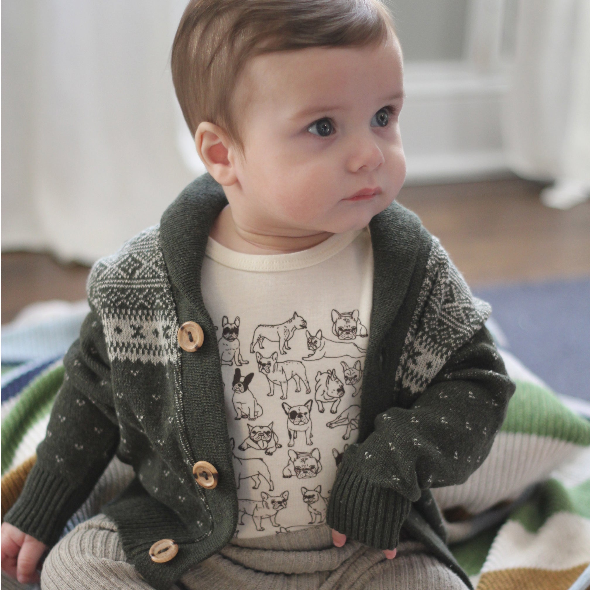 Collegiate Recycled Cotton Baby Toddler Button Down Cardigan Knit Sweater Eco Friendly Made in USA Pine