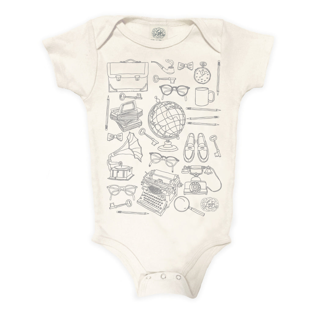 Professor teacher school harvard yale princeton ivy league globe college typewriter gray baby boy girl infant shower gift organic cotton eco sustainable made in USA onesie bodysuit unisex gender neutral hand drawn illustration
