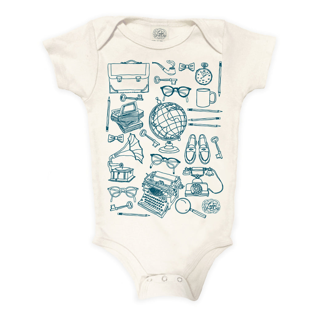 Professor teacher school harvard yale princeton ivy league globe college typewriter teal blue baby boy girl infant shower gift organic cotton eco sustainable made in USA onesie bodysuit unisex gender neutral hand drawn illustration