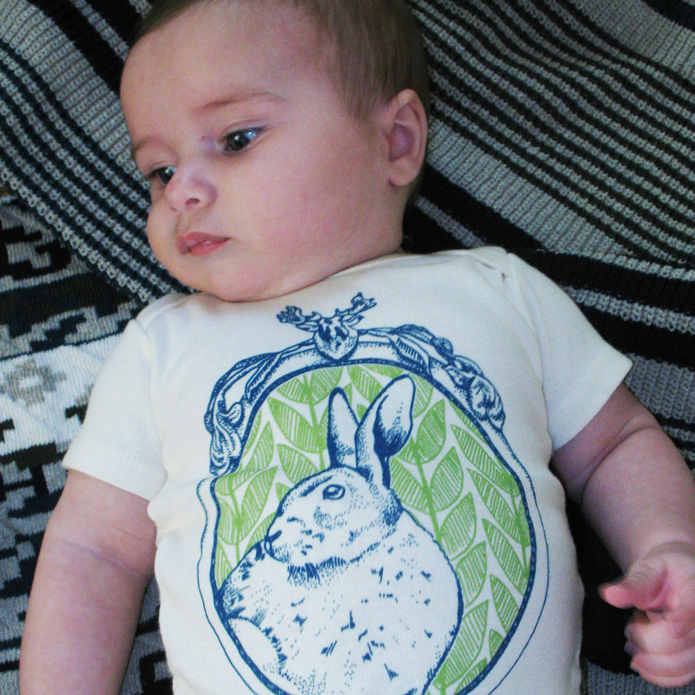bunny rabbit easter nature spring forest woodland hiking camping gray brown baby boy girl infant shower gift organic cotton eco sustainable made in USA onesie bodysuit unisex gender neutral hand drawn illustration