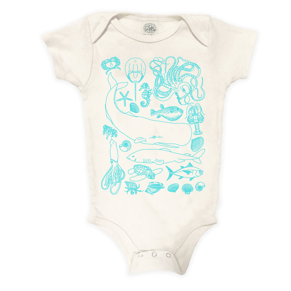 Aquarium sealife ocean beach shark whale fish sea shore crab puffer aqua blue baby boy girl infant shower gift organic cotton eco sustainable made in USA onesie bodysuit unisex gender neutral hand drawn illustration